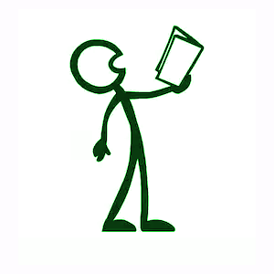 stick figure reading aloud from book
